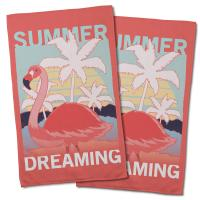 Summer Dreaming Flamingo Hand Towel (Set of 2)