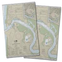 OR: Yaquina Bay and River, OR Nautical Chart Hand Towel (Set of 2)