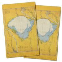 FL: Lake Okeechobee, FL C. 1958 Vintage Nautical Chart Hand Towel (Set of 2)