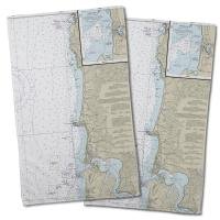 OR: Approaches to Yaquina Bay, OR Nautical Chart Hand Towel (Set of 2)