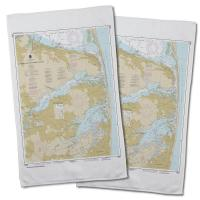 NJ: Navesink and Shrewsbury Rivers, Redbank, Rumson Neck, NJ Nautical Chart Hand Towel (Set of 2)