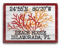 Custom Coordinates Coral Duo Sign - Red