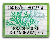 Custom Coordinates Coral Duo Sign - Green