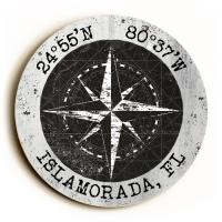 Custom Coordinates Round Compass Rose Sign - Black Vintage Chart w/White Frame