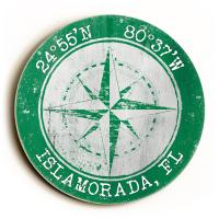 Custom Coordinates Round Compass Rose Sign - Green