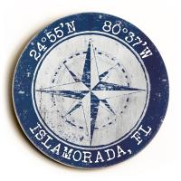 Custom Coordinates Round Compass Rose Sign - Navy