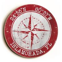 Custom Coordinates Round Compass Rose Sign - Red