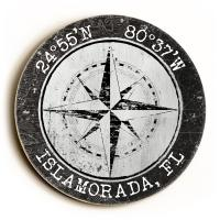 Custom Coordinates Round Compass Rose Sign - White w/Black Vintage Chart Frame