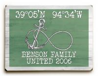 Custom Coordinates Infinity Anchor Sign - Nile Green