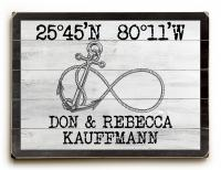 Custom Coordinates Infinity Anchor Sign - White