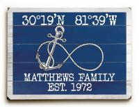 Custom Coordinates Infinity Anchor Sign - Navy