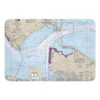 VA: Hampton Roads, Newport News, VA Nautical Chart Memory Foam Bath Mat