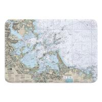 MA: Boston Harbor, MA Nautical Chart Memory Foam Bath Mat