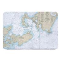 MA: Woods Hole, MA Nautical Chart Memory Foam Bath Mat