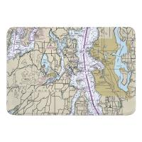 WA: Seattle, WA Nautical Chart Memory Foam Bath Mat
