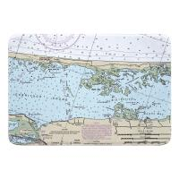NC: Currituck Beach, Corolla, NC Nautical Chart Memory Foam Bath Mat