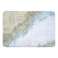 NY: New Rochelle, Mamaroneck, Port Chester, NY Nautical Chart Memory Foam Bath Mat