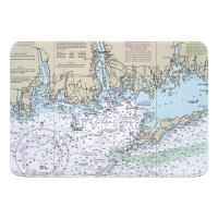 CT-NY: Niantic, New London, Mystic, CT; Fishers Island, NY Nautical Chart Memory Foam Bath Mat