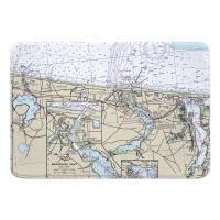 NJ: Spring Lake, Manasquan Inlet, Bay Head, NJ Nautical Chart Memory Foam Bath Mat