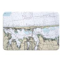NJ: Island Beach, Lavallette, Toms River, NJ Nautical Chart Memory Foam Bath Mat