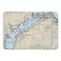 FL: Fort Myers, FL Nautical Chart Memory Foam Bath Mat