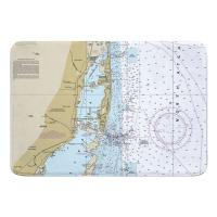 FL: Miami, FL Nautical Chart Memory Foam Bath Mat