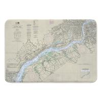 DE-PA Delaware River; Wilmington, DE to Philadelphia, PA Nautical Chart Memory Foam Bath Mat