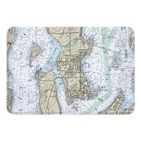 RI: Jamestown, RI Nautical Chart Memory Foam Bath Mat