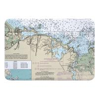 MA: Cohasset, MA Nautical Chart Memory Foam Bath Mat
