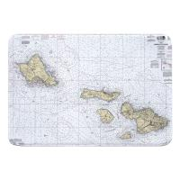 HI: Hawaii to Oahu, HI Nautical Chart Memory Foam Bath Mat