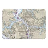 VA: Portsmouth, Norfolk, VA Nautical Chart Memory Foam Bath Mat