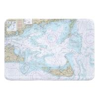 MA: Nantucket Sound and Approaches, MA Nautical Chart Memory Foam Bath Mat