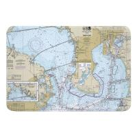 FL: Tampa Interbay Peninsula, Old Tampa Bay, FL Nautical Chart Memory Foam Bath Mat