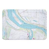 AR-TN: Fletcher Lake, AR; MS River; Lake McKellar, TN (1966) Topo Map Memory Foam Bath Mat