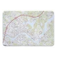 MA: Haverhill, MA Topo Map Memory Foam Bath Mat