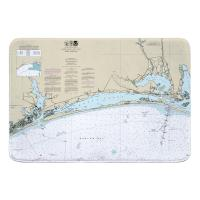 NC: Bogue Sound, NC Nautical Chart Memory Foam Bath Mat