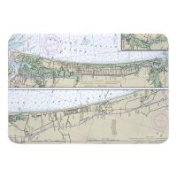 NC: Oak Island, NC and North Myrtle Beach, SC Nautical Chart Memory Foam Bath Mat