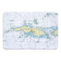USVI: Saint Thomas, USVI Nautical Chart Memory Foam Bath Mat