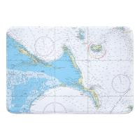 Exuma Islands, Long Island, Rum Cay, Bahamas Nautical Chart Memory Foam Bath Mat