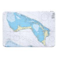 Little Bahama Bank, Grand Bahama, Abaco, Bahamas Nautical Chart Memory Foam Bath Mat