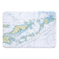 Tortola and Virgin Gorda, BVI Nautical Chart Memory Foam Bath Mat