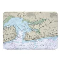 MS: Bay St. Louis, Pass Christian, MS Nautical Chart Memory Foam Bath Mat