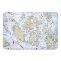 WA: San Juan Islands, WA Nautical Chart Memory Foam Bath Mat