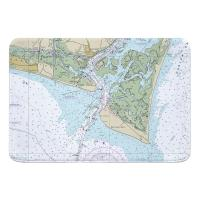 NC: Bald Head Island, NC Nautical Chart Memory Foam Bath Mat
