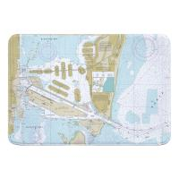 FL: Miami Harbor, FL Nautical Chart  Memory Foam Bath Mat