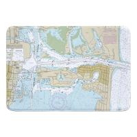 FL: Fort Pierce Harbor, FL Nautical Chart Memory Foam Bath Mat