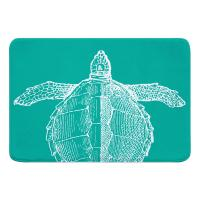 Vintage Sea Turtle Memory Foam Bath Mat - White on Aqua