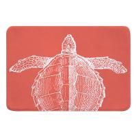 Vintage Sea Turtle Memory Foam Bath Mat - White on Coral