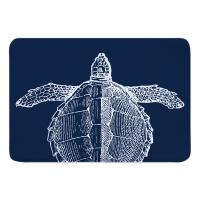 Vintage Sea Turtle Memory Foam Bath Mat - White on Navy