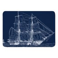 Vintage Ship Memory Foam Bath Mat - White on Navy